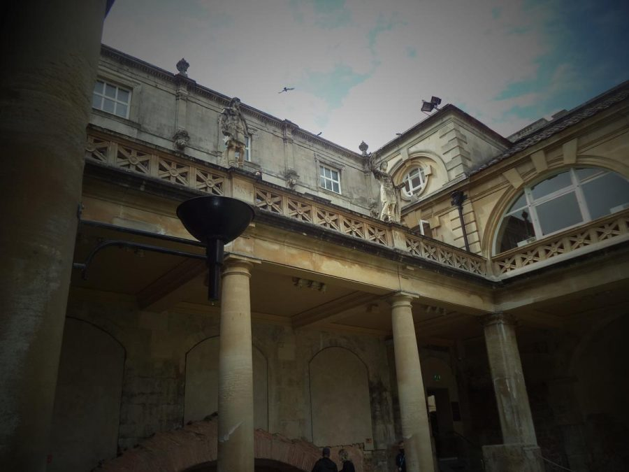 Again looking up from the Great Bath with more Victorian era statues of Roman emperors and the museum building in view.