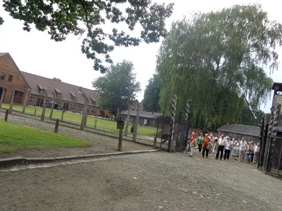 """A group of visitors walking through the main iron gates of Auschwitz I with the sign """"Arbeit macht frei"""" (""""work sets you free"""") above. There is barbed wire fencing extending from the gate and buildings in the background."""