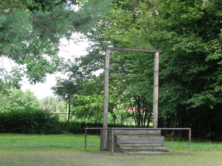 Gallows within Auschwitz I camp where Rudolf Höss was executed on 16 April 1947. Rudolf Höss was commandant of Auschwitz concentration camp from 4 May 1940 to November 1943, and again from May 1944 to January 1945. He was sentenced to death by the Supreme National Tribunal, a Polish war crimes tribunal, in 1947.