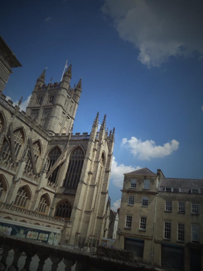 Another view of Bath Abbey from the south-west with Kingston Parade in front. Bath Abbey's tower can be seen rising to 49 metres (161 feet) in height. Today the abbey is an Anglican parish church but until 1539 it was a Benedictine monastery. It was originally founded in the 7th century with rebuilding occurring in the 12th and 16th centuries. Major restoration work was carried out by Sir George Gilbert Scott in the 1860s. It is Perpendicular Gothic in style.