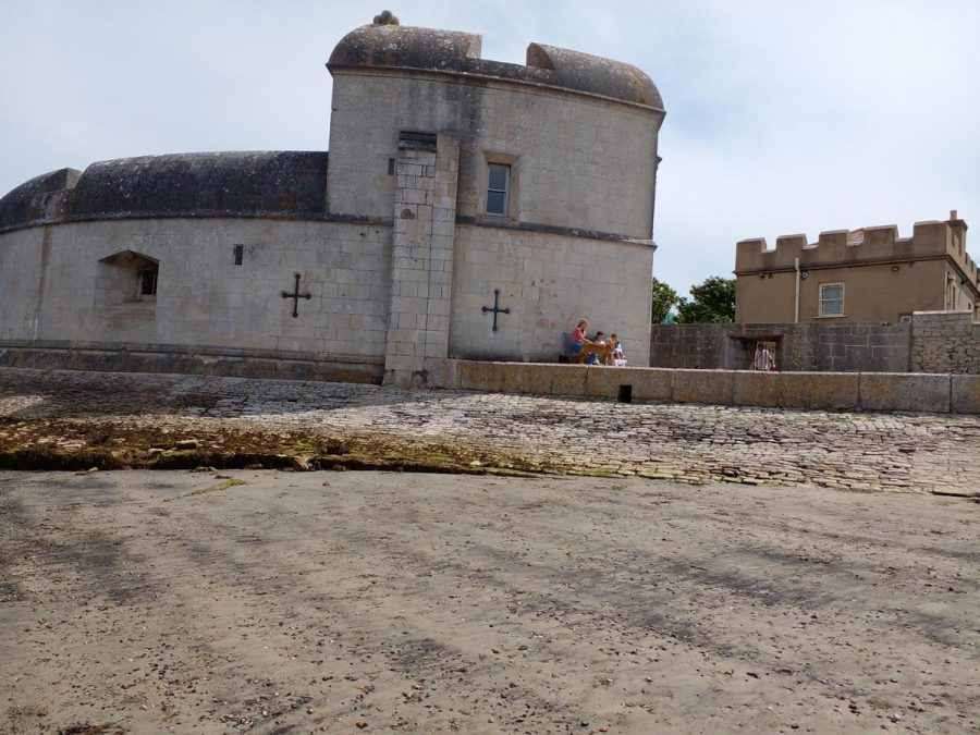 Portland Castle seen from the beach. The keep is in the foreground and the Captain's House is further back to the right.