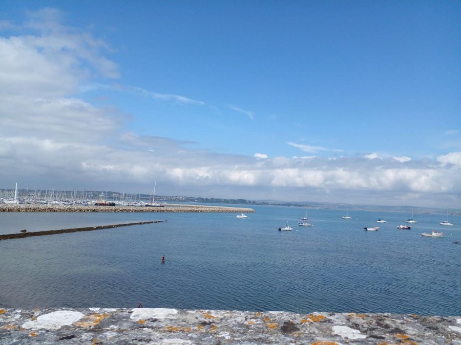 View of Portland Harbour, including harbour walls and lots of small boats moored. The coast of Dorset visible beyond.